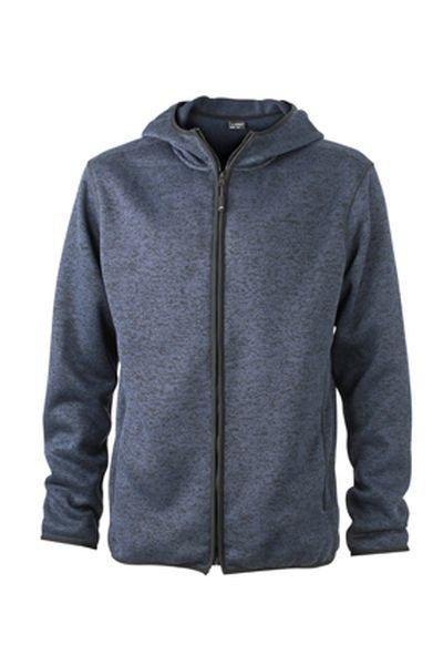 Fleece bunda  MELANGE s kapucí denim